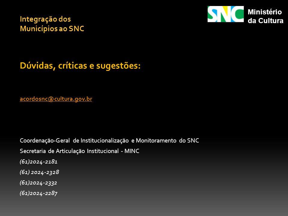 Dúvidas, críticas e sugestões: acordosnc@cultura.gov.br Coordenação-Geral de Institucionalização e Monitoramento do SNC Secretaria de Articulação Inst