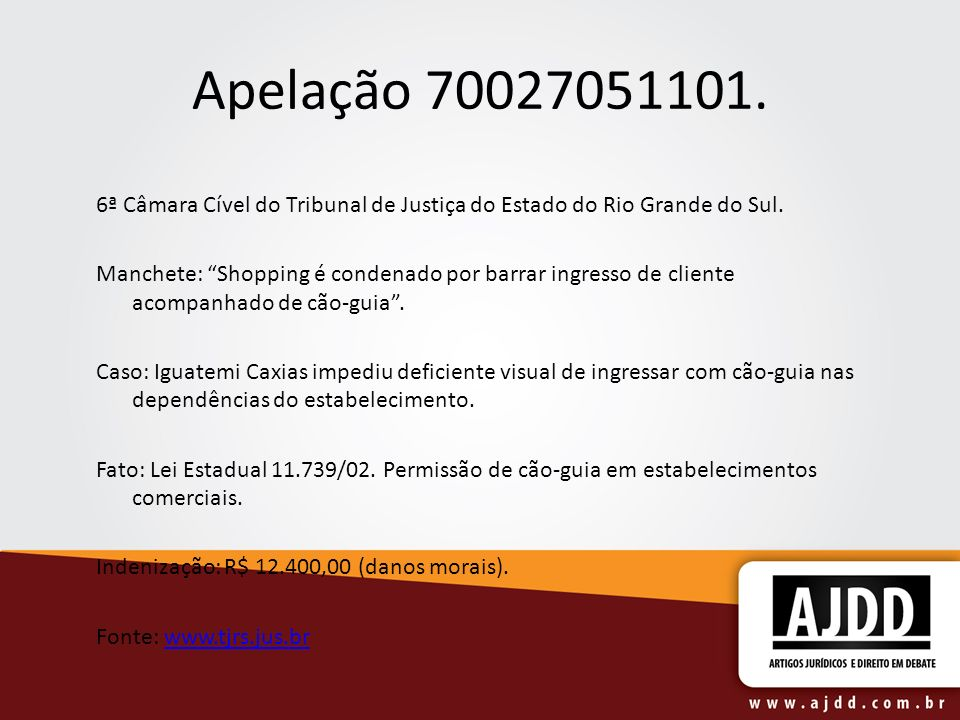 Apelação 70027051101. 6ª Câmara Cível do Tribunal de Justiça do Estado do Rio Grande do Sul. Manchete: Shopping é condenado por barrar ingresso de cli