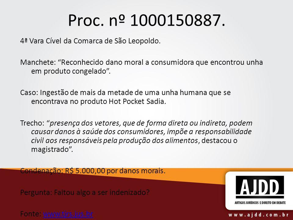 Proc. nº 1000150887. 4ª Vara Cível da Comarca de São Leopoldo. Manchete: Reconhecido dano moral a consumidora que encontrou unha em produto congelado.