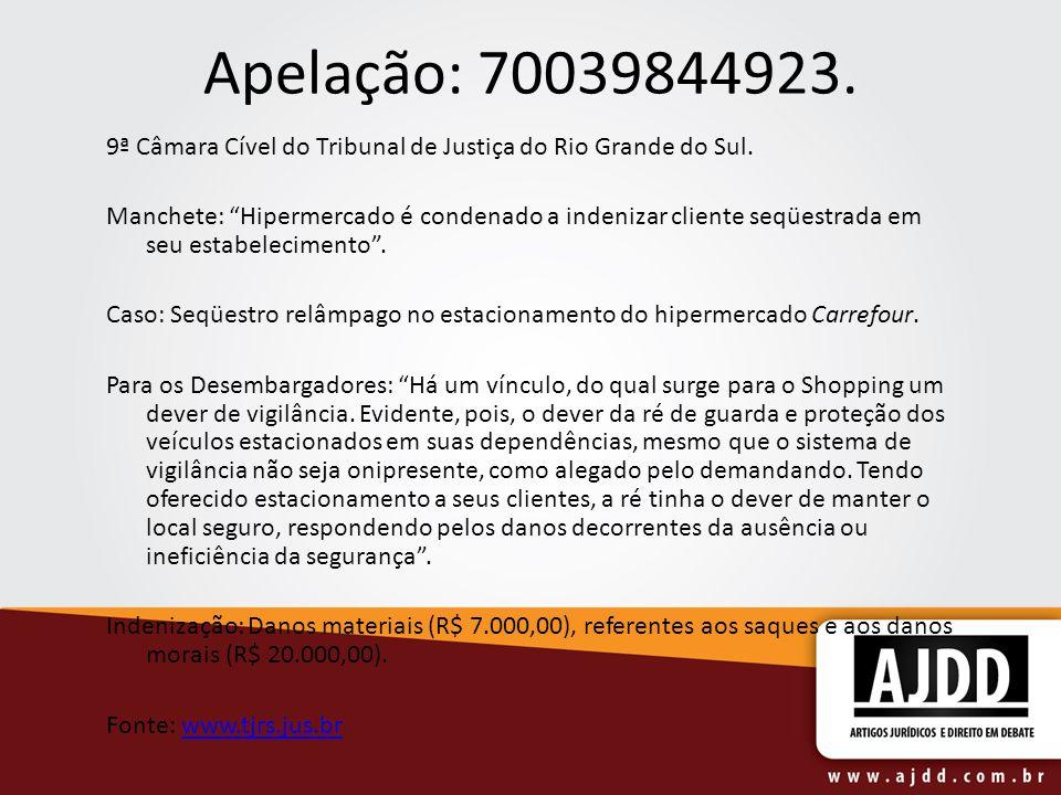 Apelação: 70039844923. 9ª Câmara Cível do Tribunal de Justiça do Rio Grande do Sul. Manchete: Hipermercado é condenado a indenizar cliente seqüestrada
