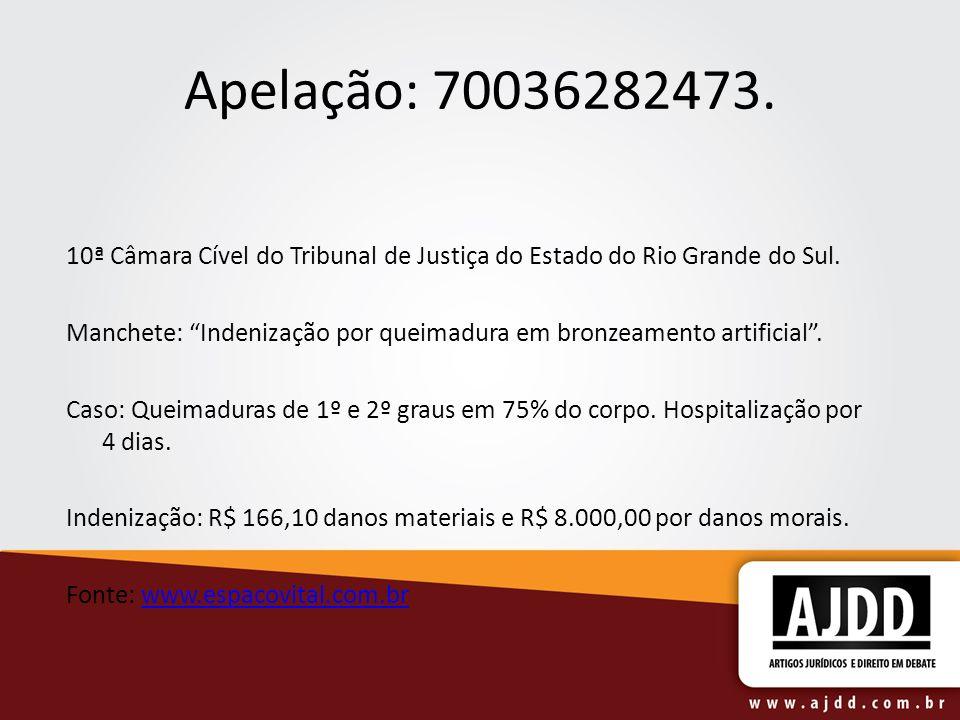 Apelação: 70036282473. 10ª Câmara Cível do Tribunal de Justiça do Estado do Rio Grande do Sul. Manchete: Indenização por queimadura em bronzeamento ar
