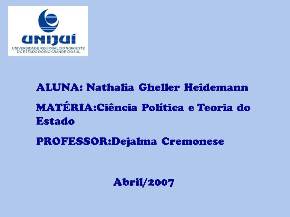 ALUNA: Nathalia Gheller Heidemann MATÉRIA:Ciência Política e Teoria do Estado PROFESSOR:Dejalma Cremonese Abril/2007