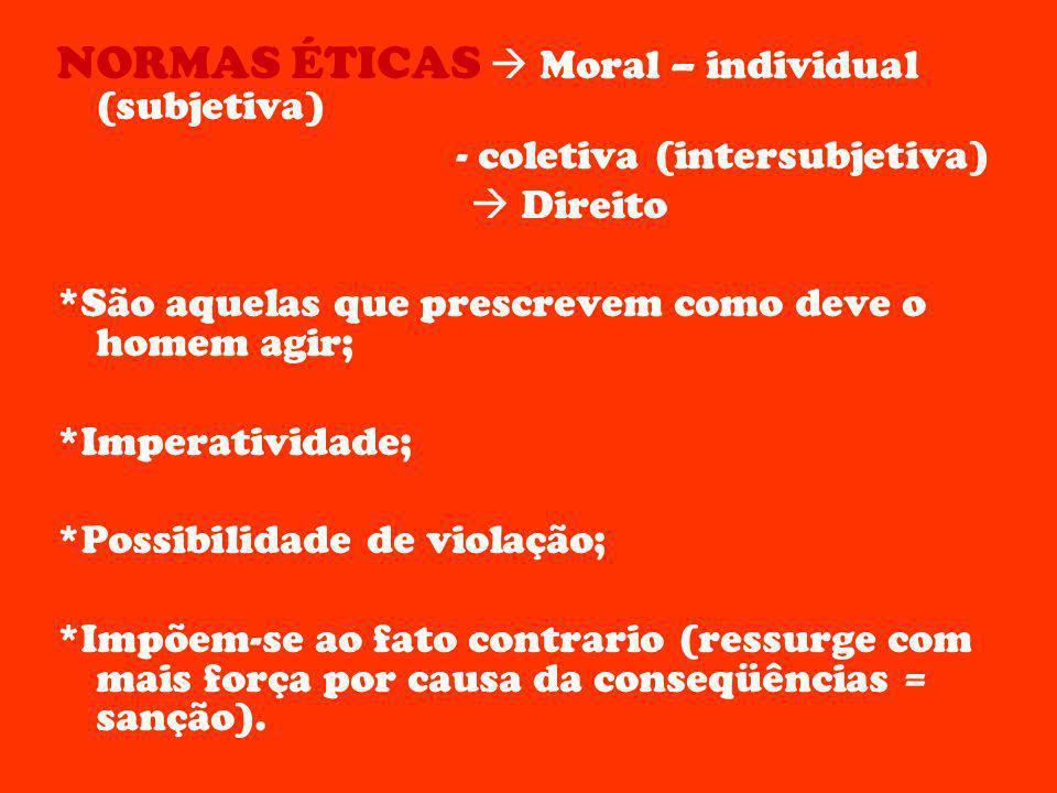 NORMAS ÉTICAS Moral – individual (subjetiva) - coletiva (intersubjetiva) Direito *São aquelas que prescrevem como deve o homem agir; *Imperatividade;