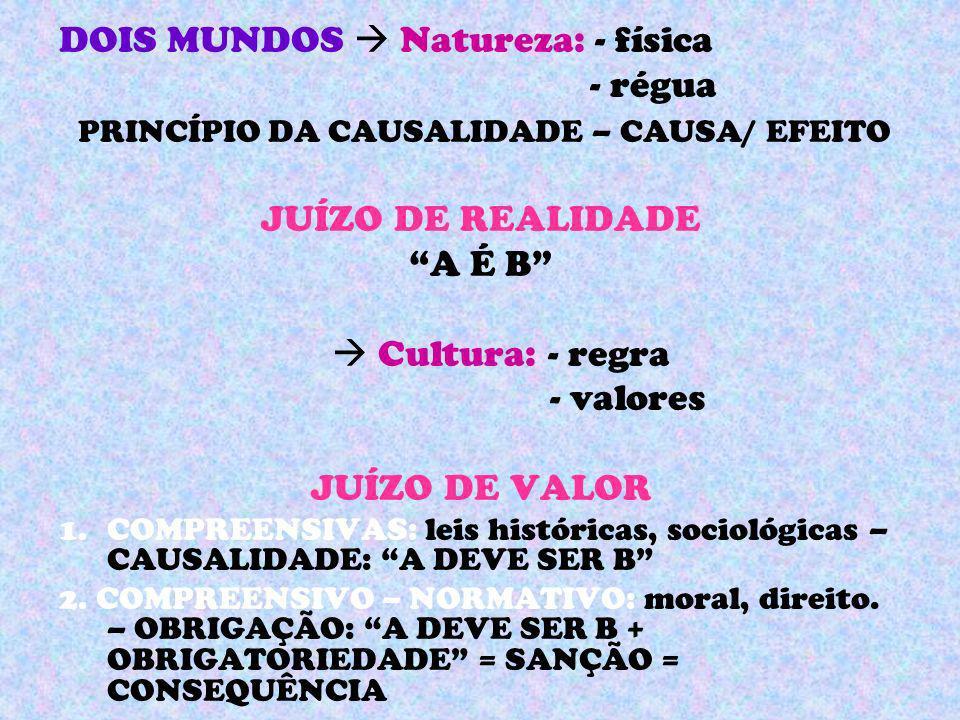 DOIS MUNDOS Natureza: - física - régua PRINCÍPIO DA CAUSALIDADE – CAUSA/ EFEITO JUÍZO DE REALIDADE A É B Cultura: - regra - valores JUÍZO DE VALOR 1.C
