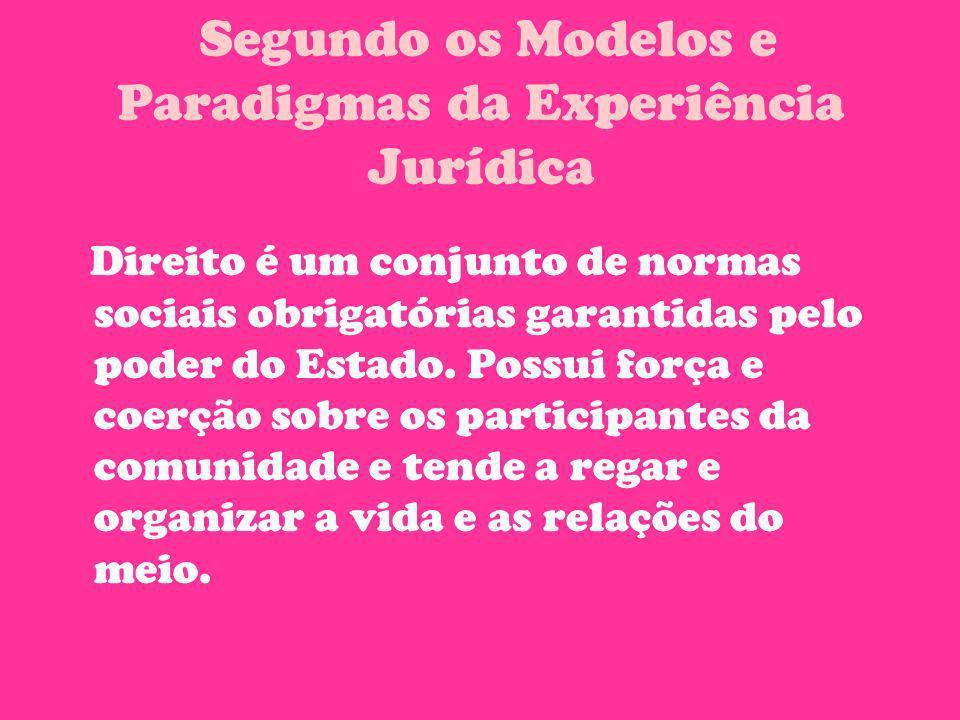 Segundo os Modelos e Paradigmas da Experiência Jurídica Direito é um conjunto de normas sociais obrigatórias garantidas pelo poder do Estado. Possui f
