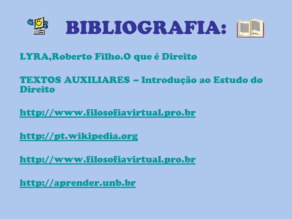 BIBLIOGRAFIA: LYRA,Roberto Filho.O que é Direito TEXTOS AUXILIARES – Introdução ao Estudo do Direito http://www.filosofiavirtual.pro.br http://pt.wiki