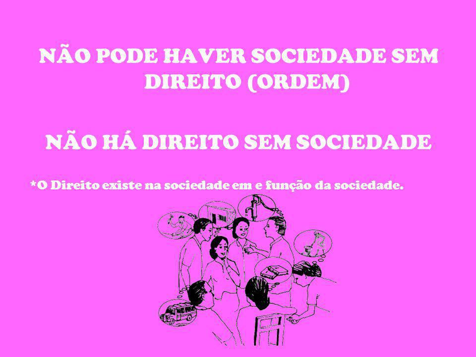 NÃO PODE HAVER SOCIEDADE SEM DIREITO (ORDEM) NÃO HÁ DIREITO SEM SOCIEDADE *O Direito existe na sociedade em e função da sociedade.