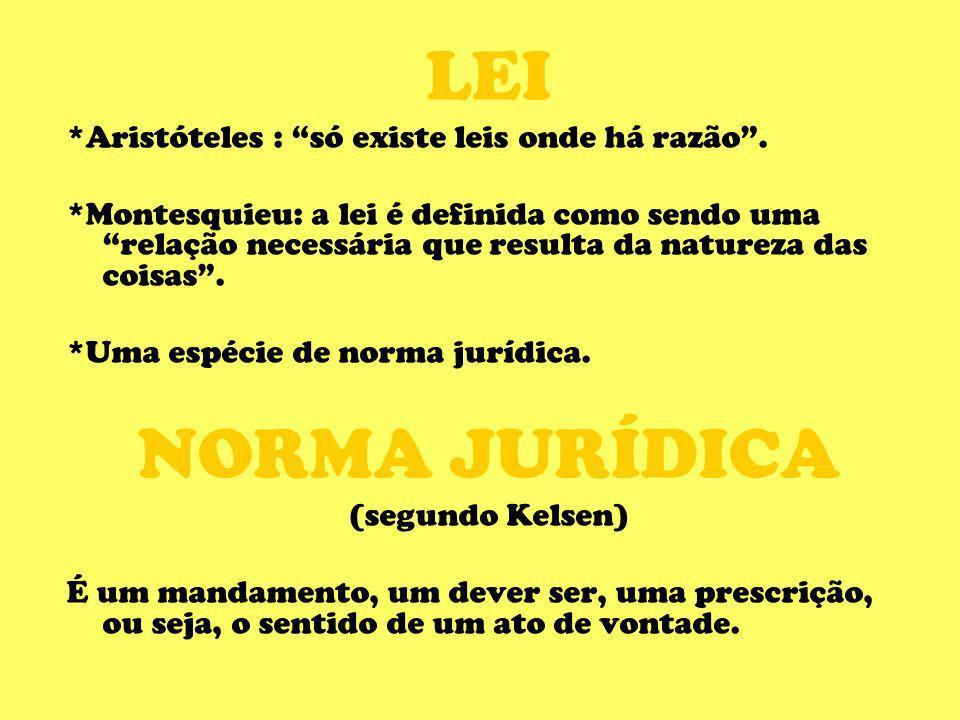 LEI *Aristóteles : só existe leis onde há razão. *Montesquieu: a lei é definida como sendo uma relação necessária que resulta da natureza das coisas.