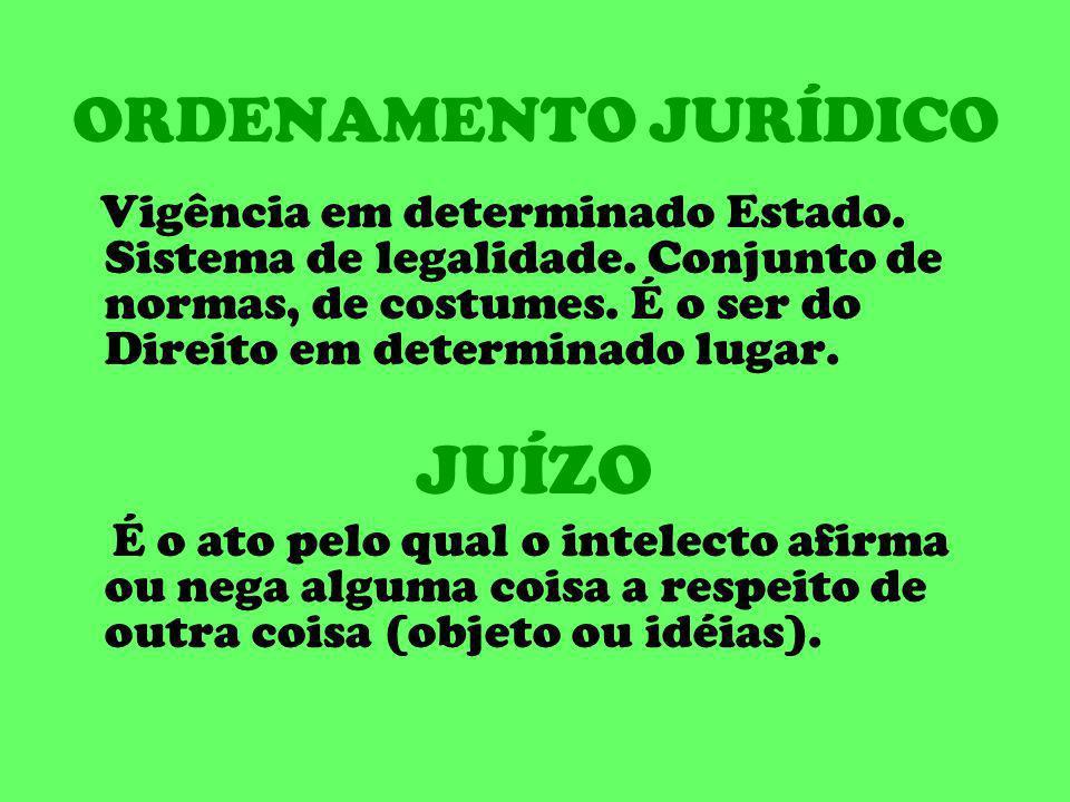 ORDENAMENTO JURÍDICO Vigência em determinado Estado. Sistema de legalidade. Conjunto de normas, de costumes. É o ser do Direito em determinado lugar.