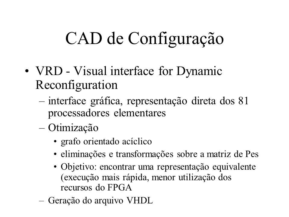 CAD de Configuração VRD - Visual interface for Dynamic Reconfiguration –interface gráfica, representação direta dos 81 processadores elementares –Otimização grafo orientado acíclico eliminações e transformações sobre a matriz de Pes Objetivo: encontrar uma representação equivalente (execução mais rápida, menor utilização dos recursos do FPGA –Geração do arquivo VHDL