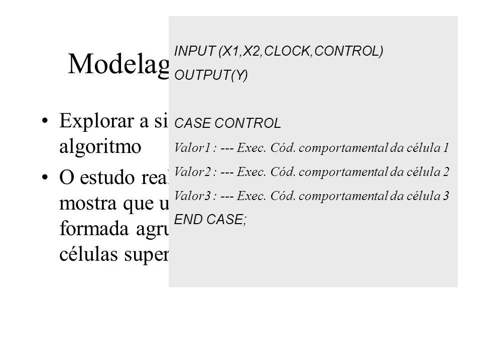 Modelagem Comportamental Explorar a similaridade em nível de algoritmo O estudo realizado entre os 5 algoritmos mostra que uma macro célula pode ser formada agrupando-se, no pior caso, três células super especializadas DRIP INPUT (X1,X2,CLOCK,CONTROL) OUTPUT(Y) CASE CONTROL Valor1 : --- Exec.