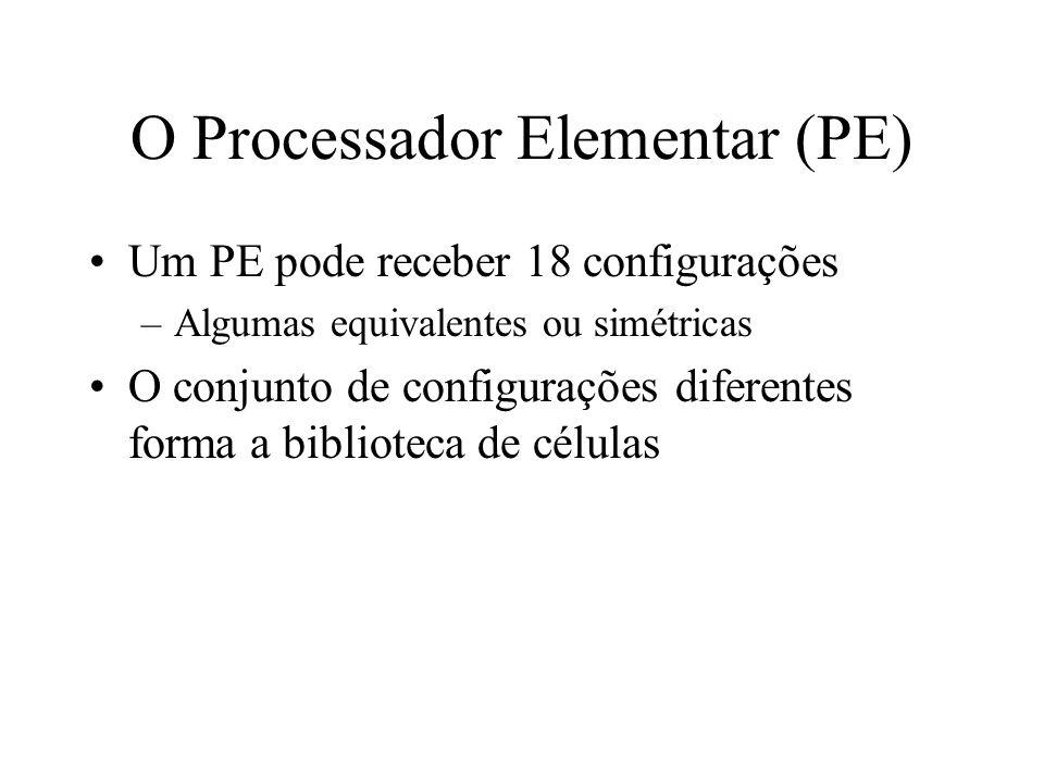 O Processador Elementar (PE) Um PE pode receber 18 configurações –Algumas equivalentes ou simétricas O conjunto de configurações diferentes forma a biblioteca de células