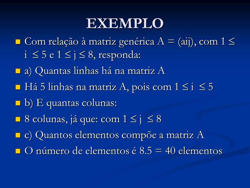 EXEMPLO Com relação à matriz genérica A = (aij), com 1 i 5 e 1 j 8, responda: Com relação à matriz genérica A = (aij), com 1 i 5 e 1 j 8, responda: a)