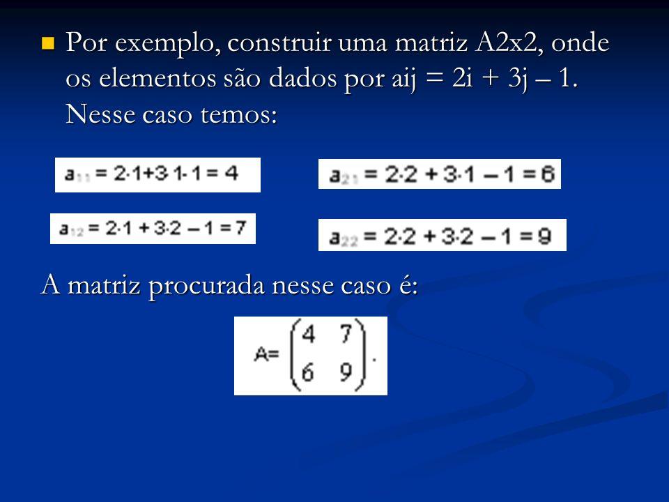 Por exemplo, construir uma matriz A2x2, onde os elementos são dados por aij = 2i + 3j – 1. Nesse caso temos: Por exemplo, construir uma matriz A2x2, o