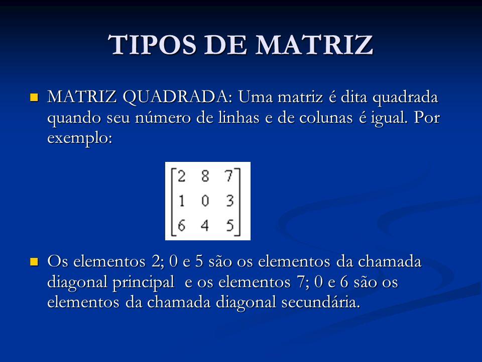 TIPOS DE MATRIZ MATRIZ QUADRADA: Uma matriz é dita quadrada quando seu número de linhas e de colunas é igual. Por exemplo: MATRIZ QUADRADA: Uma matriz