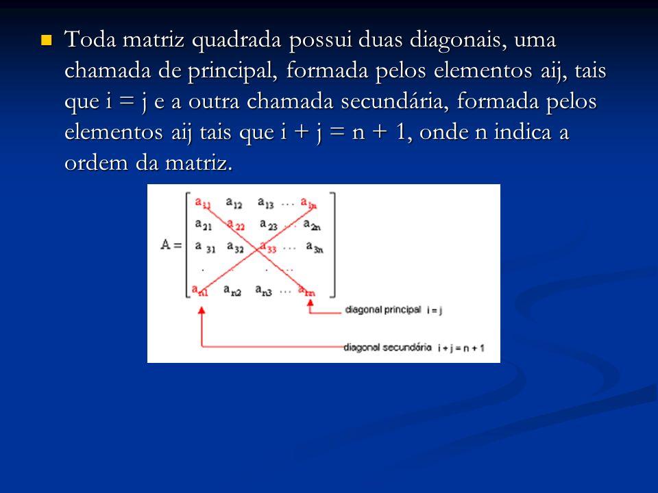 Toda matriz quadrada possui duas diagonais, uma chamada de principal, formada pelos elementos aij, tais que i = j e a outra chamada secundária, formad