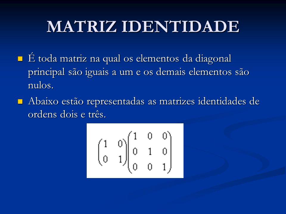 MATRIZ IDENTIDADE É toda matriz na qual os elementos da diagonal principal são iguais a um e os demais elementos são nulos. É toda matriz na qual os e