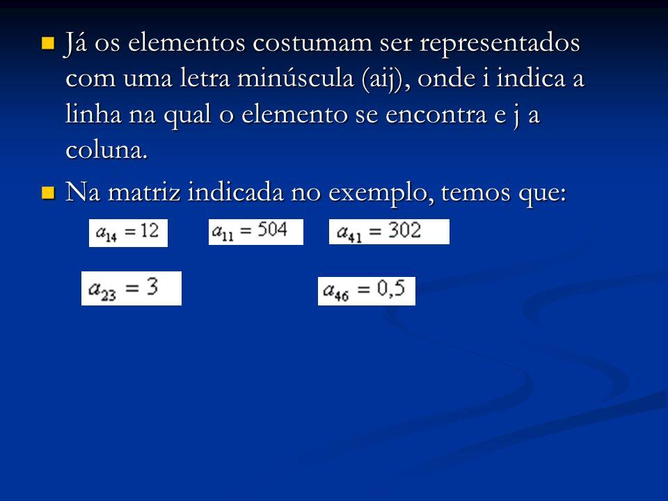 Já os elementos costumam ser representados com uma letra minúscula (aij), onde i indica a linha na qual o elemento se encontra e j a coluna. Já os ele