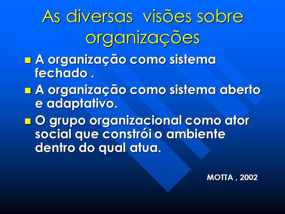 As diversas visões sobre organizações A organização como sistema fechado. A organização como sistema fechado. A organização como sistema aberto e adap