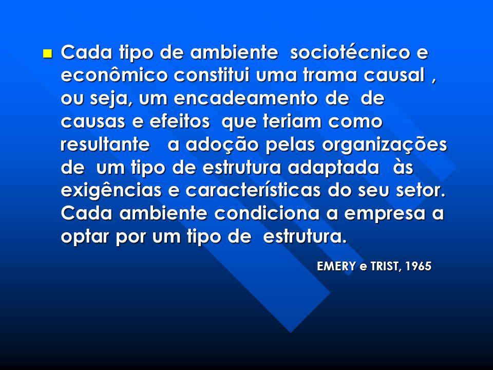 Cada tipo de ambiente sociotécnico e econômico constitui uma trama causal, ou seja, um encadeamento de de causas e efeitos que teriam como resultante