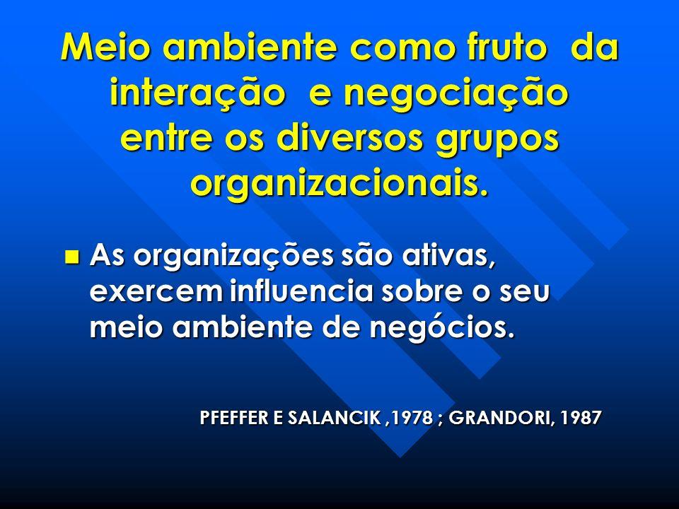 Meio ambiente como fruto da interação e negociação entre os diversos grupos organizacionais. As organizações são ativas, exercem influencia sobre o se