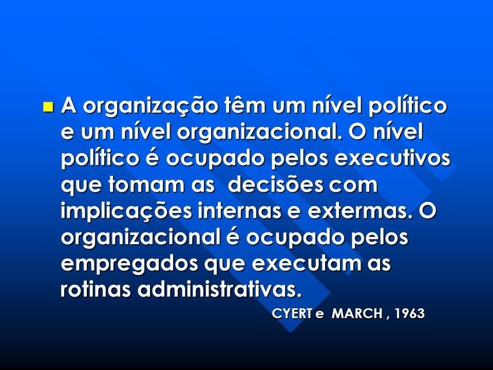 A organização têm um nível político e um nível organizacional. O nível político é ocupado pelos executivos que tomam as decisões com implicações inter