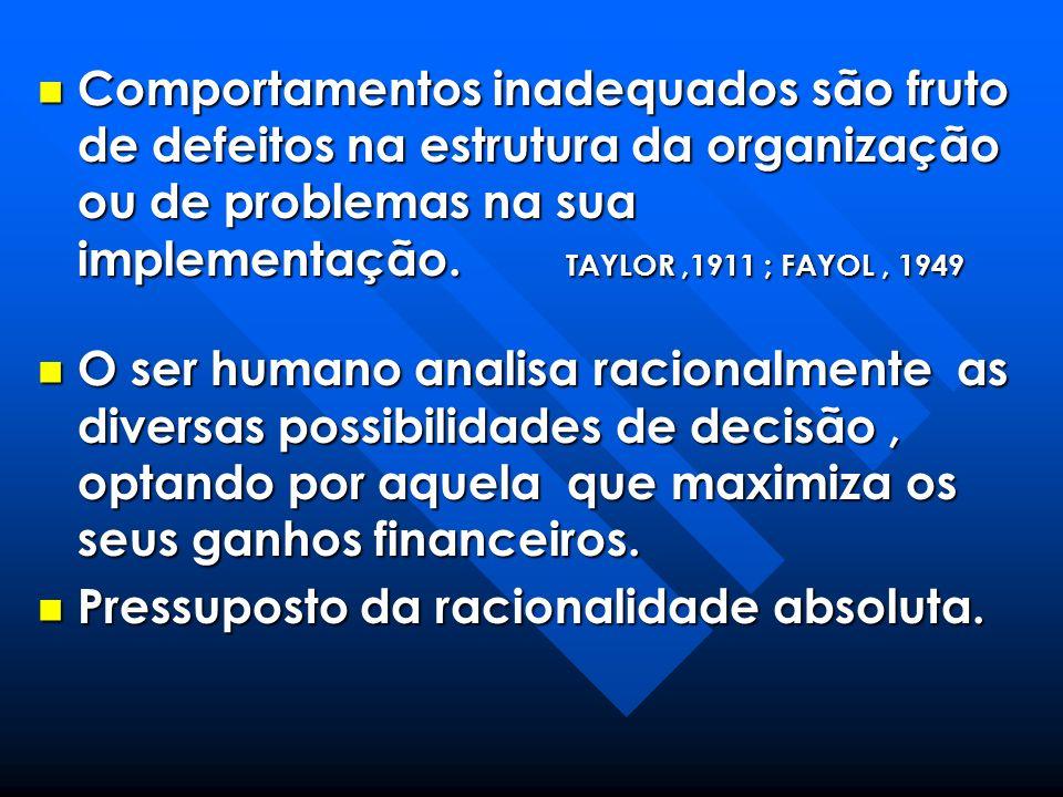 Comportamentos inadequados são fruto de defeitos na estrutura da organização ou de problemas na sua implementação. TAYLOR,1911 ; FAYOL, 1949 Comportam