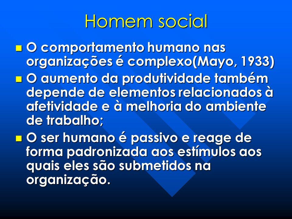 Homem social O comportamento humano nas organizações é complexo(Mayo, 1933) O comportamento humano nas organizações é complexo(Mayo, 1933) O aumento d
