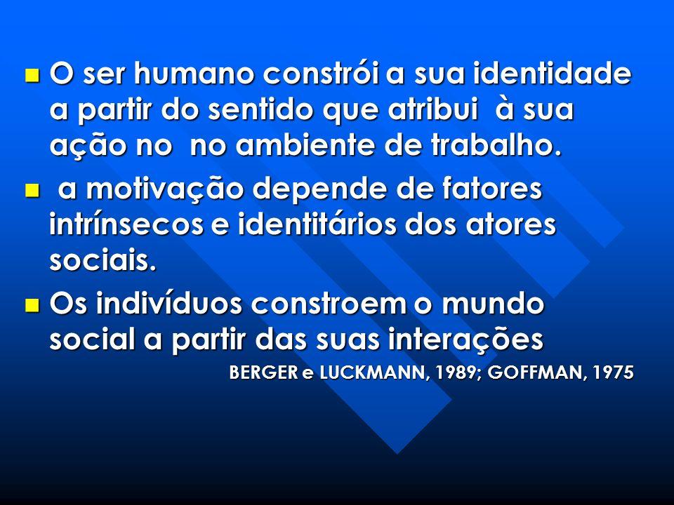 O ser humano constrói a sua identidade a partir do sentido que atribui à sua ação no no ambiente de trabalho. O ser humano constrói a sua identidade a