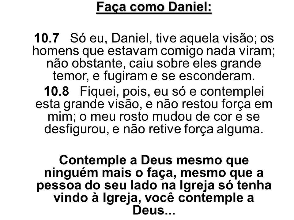 Faça como Daniel: 10.7 Só eu, Daniel, tive aquela visão; os homens que estavam comigo nada viram; não obstante, caiu sobre eles grande temor, e fugira