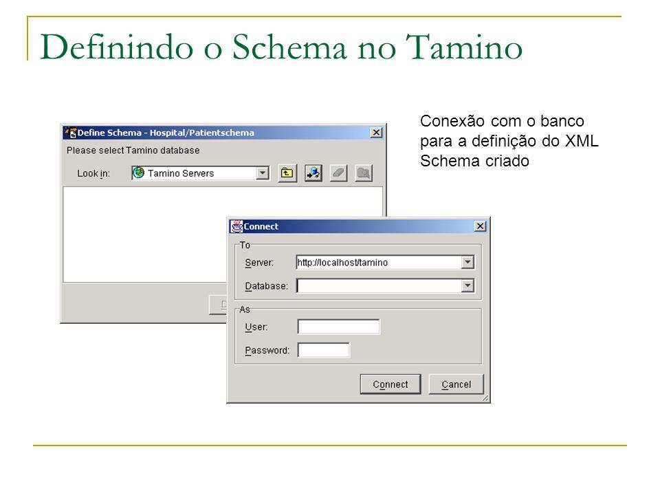 Definindo o Schema no Tamino Conexão com o banco para a definição do XML Schema criado