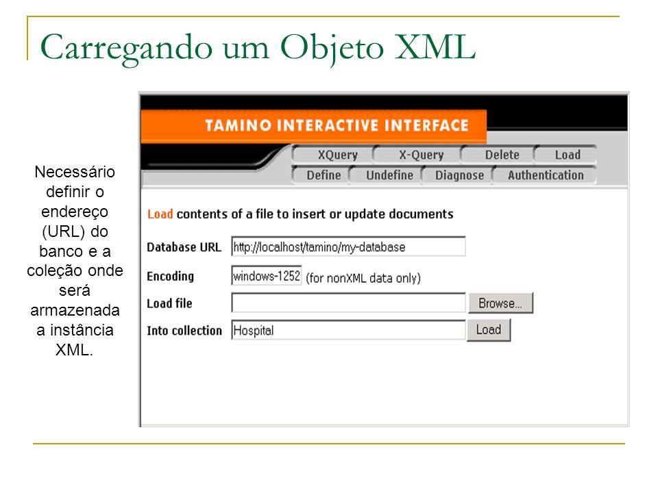Carregando um Objeto XML Necessário definir o endereço (URL) do banco e a coleção onde será armazenada a instância XML.