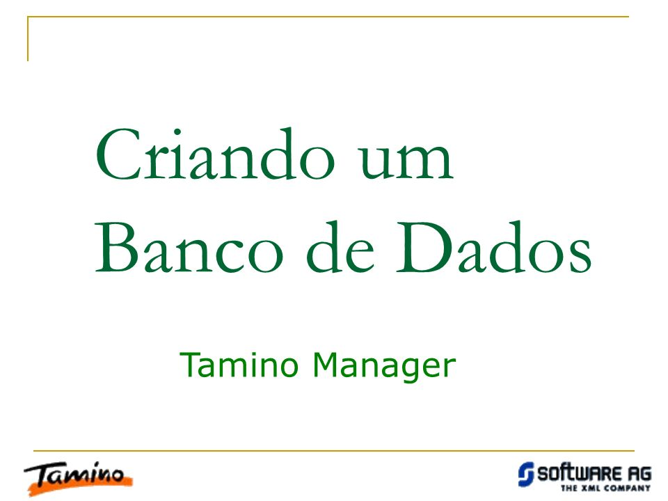Criando um Banco de Dados Tamino Manager