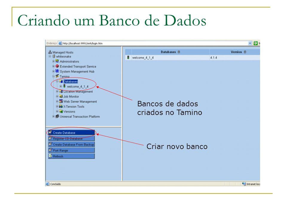 Criando um Banco de Dados Bancos de dados criados no Tamino Criar novo banco