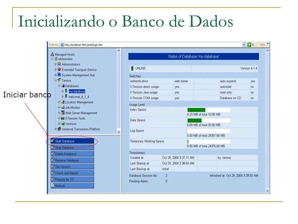 Inicializando o Banco de Dados Iniciar banco
