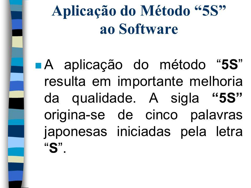 Aplicação do Método 5S ao Software n A aplicação do método 5S resulta em importante melhoria da qualidade. A sigla 5S origina-se de cinco palavras jap