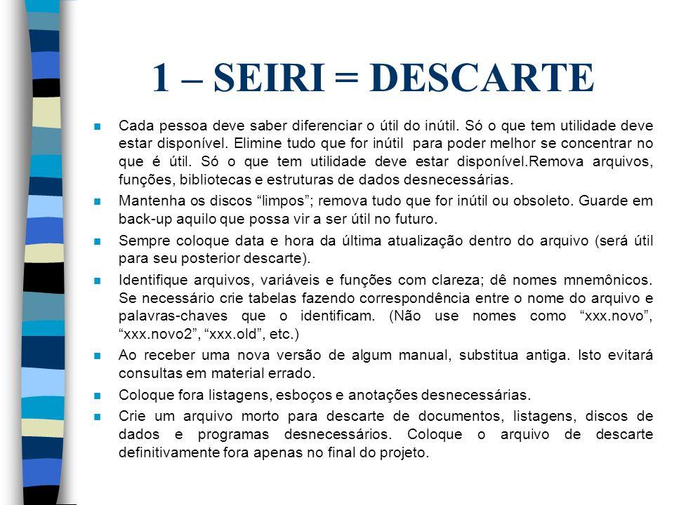 1 – SEIRI = DESCARTE n Cada pessoa deve saber diferenciar o útil do inútil.