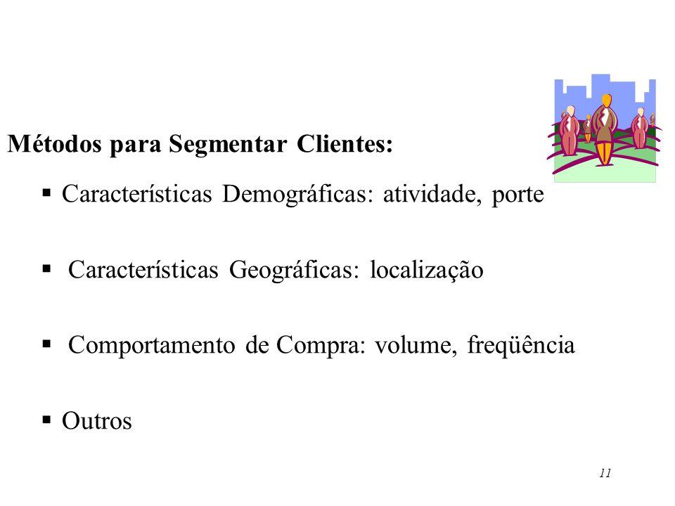 11 Métodos para Segmentar Clientes: Características Demográficas: atividade, porte Características Geográficas: localização Comportamento de Compra: v