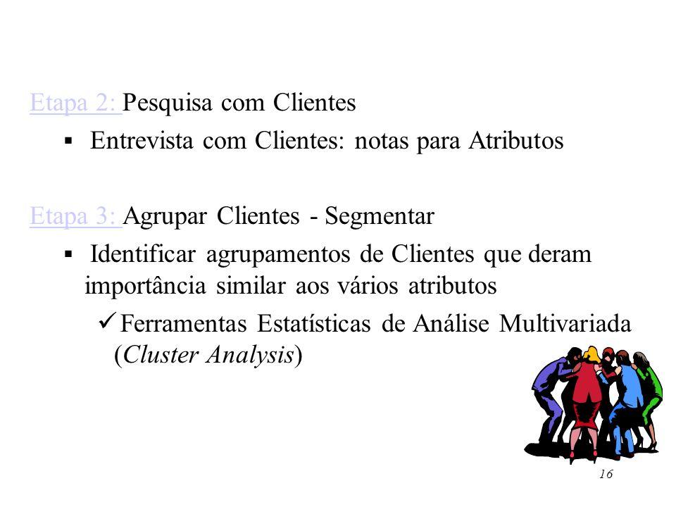 16 Etapa 2: Etapa 2: Pesquisa com Clientes Entrevista com Clientes: notas para Atributos Etapa 3: Etapa 3: Agrupar Clientes - Segmentar Identificar ag