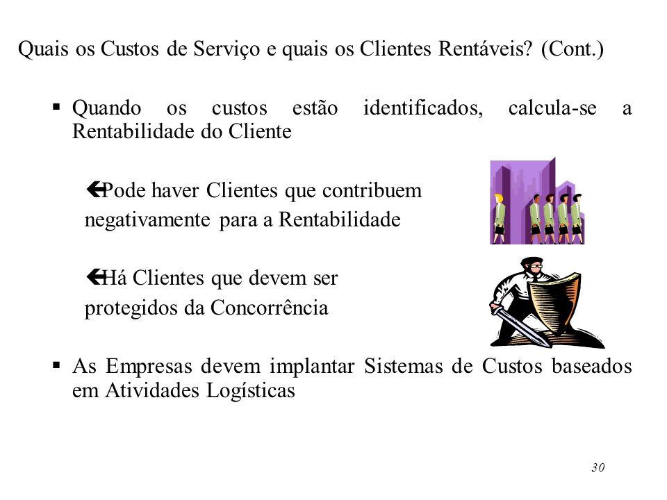 30 Quais os Custos de Serviço e quais os Clientes Rentáveis? (Cont.) Quando os custos estão identificados, calcula-se a Rentabilidade do Cliente çPode