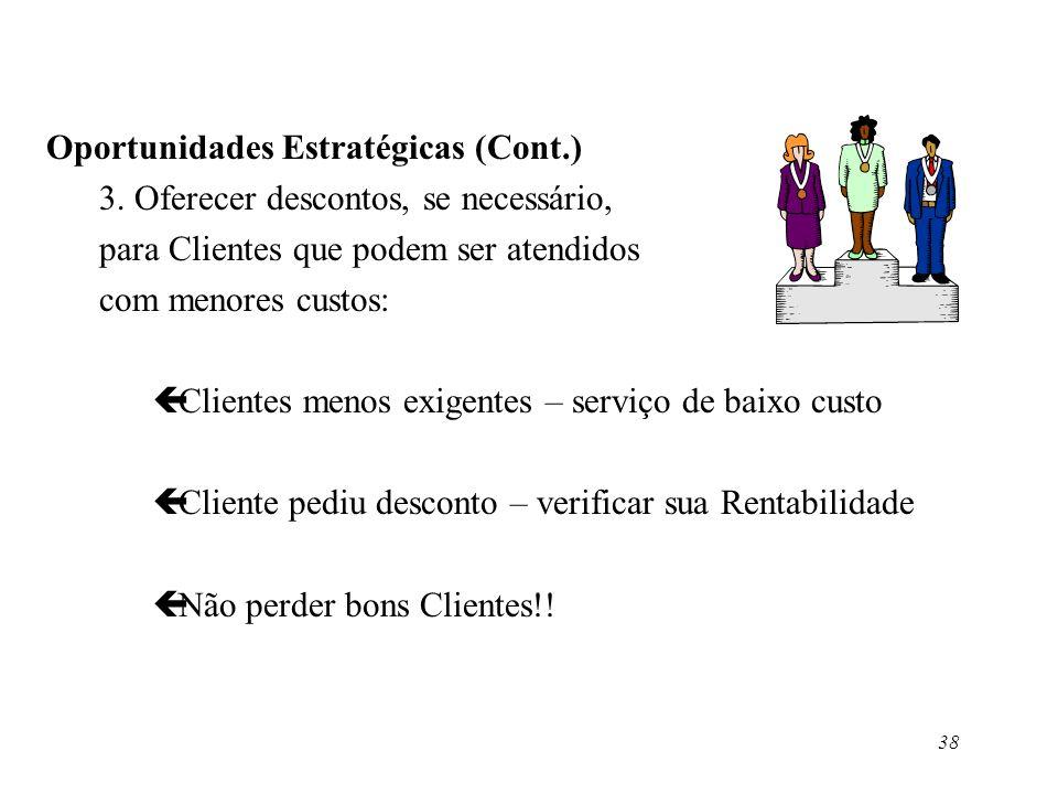 38 Oportunidades Estratégicas (Cont.) 3. Oferecer descontos, se necessário, para Clientes que podem ser atendidos com menores custos: çClientes menos