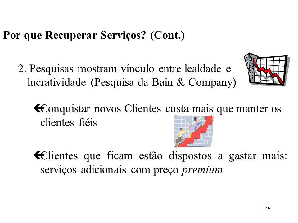 49 Por que Recuperar Serviços? (Cont.) 2. Pesquisas mostram vínculo entre lealdade e lucratividade (Pesquisa da Bain & Company) çConquistar novos Clie