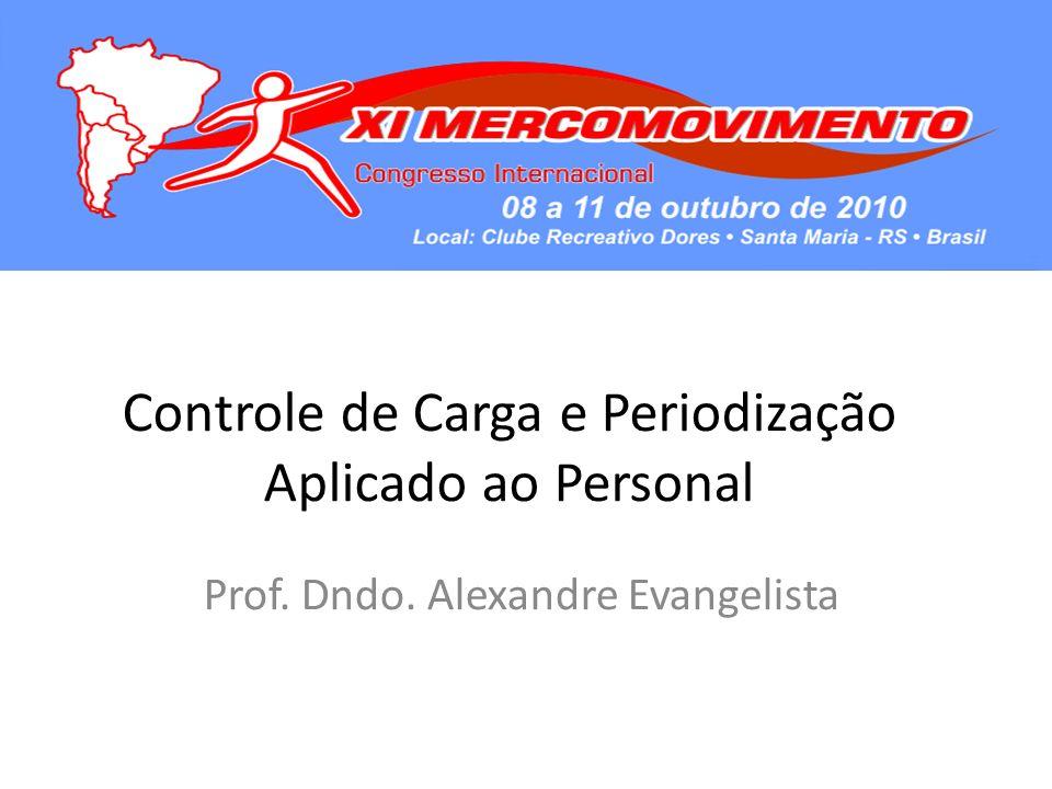 Controle de Carga e Periodização Aplicado ao Personal Prof. Dndo. Alexandre Evangelista