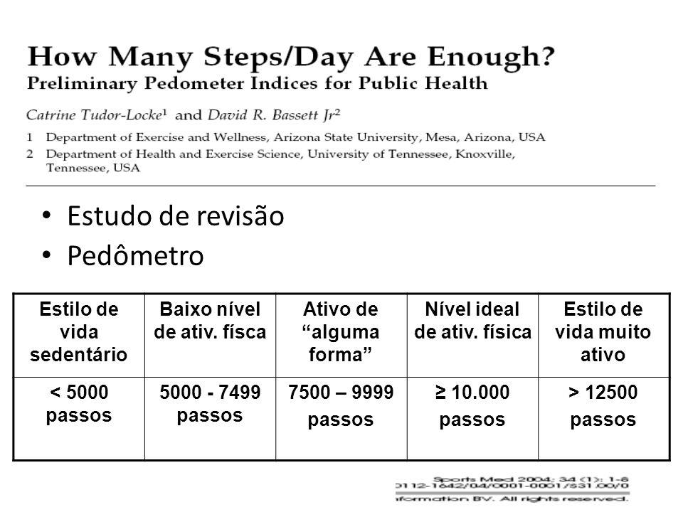 Estudo de revisão Pedômetro Estilo de vida sedentário Baixo nível de ativ. físca Ativo de alguma forma Nível ideal de ativ. física Estilo de vida muit