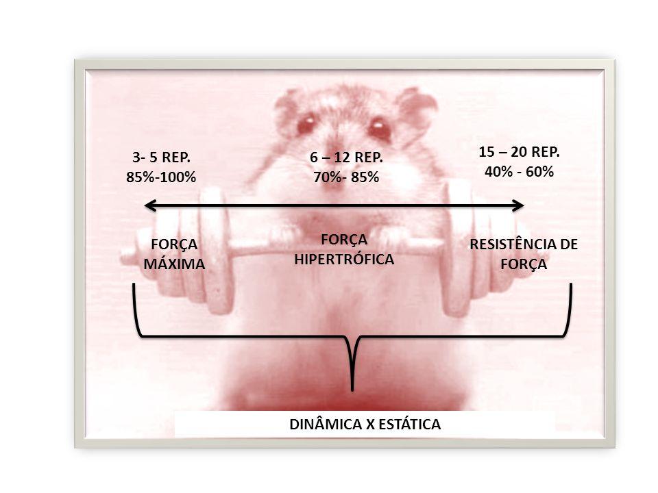 FORÇA MÁXIMA FORÇA HIPERTRÓFICA RESISTÊNCIA DE FORÇA 15 – 20 REP. 40% - 60% 6 – 12 REP. 70%- 85% 3- 5 REP. 85%-100% DINÂMICA X ESTÁTICA