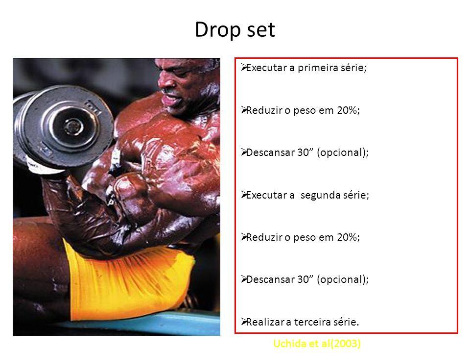 Drop set Executar a primeira série; Reduzir o peso em 20%; Descansar 30 (opcional); Executar a segunda série; Reduzir o peso em 20%; Descansar 30 (opc