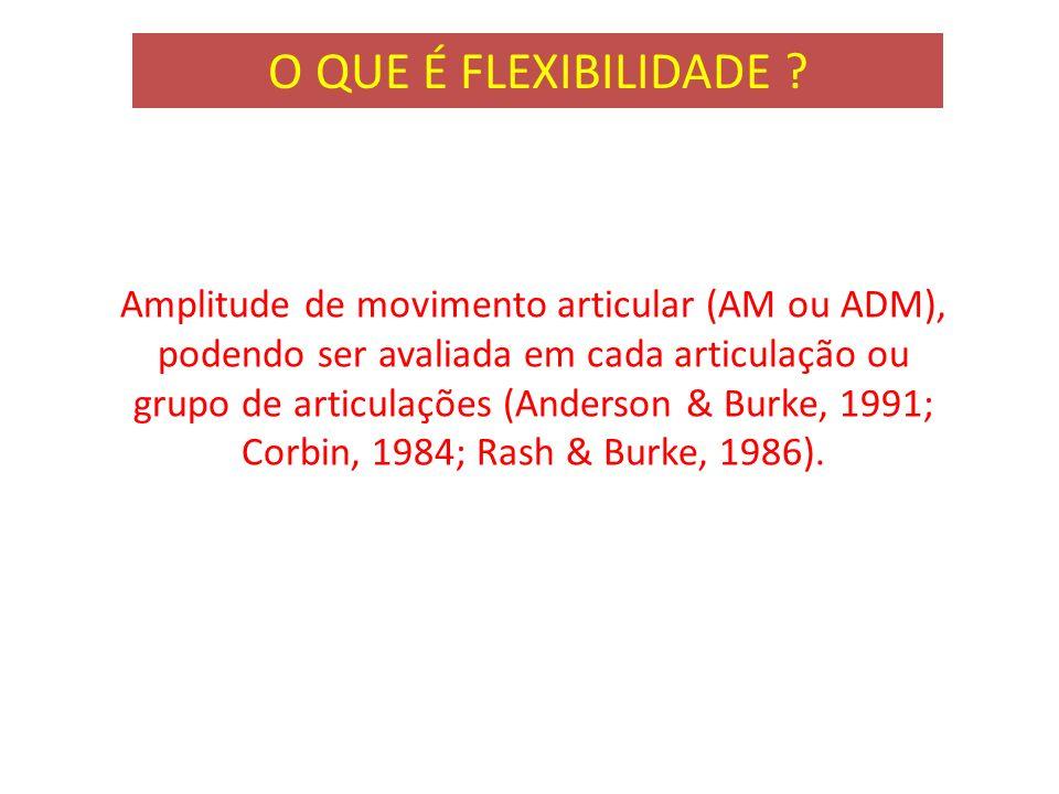 Amplitude de movimento articular (AM ou ADM), podendo ser avaliada em cada articulação ou grupo de articulações (Anderson & Burke, 1991; Corbin, 1984;