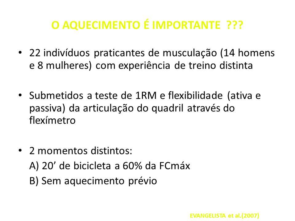 O AQUECIMENTO É IMPORTANTE ??? 22 indivíduos praticantes de musculação (14 homens e 8 mulheres) com experiência de treino distinta Submetidos a teste