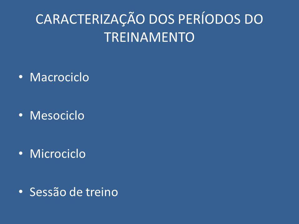 CARACTERIZAÇÃO DOS PERÍODOS DO TREINAMENTO Macrociclo Mesociclo Microciclo Sessão de treino