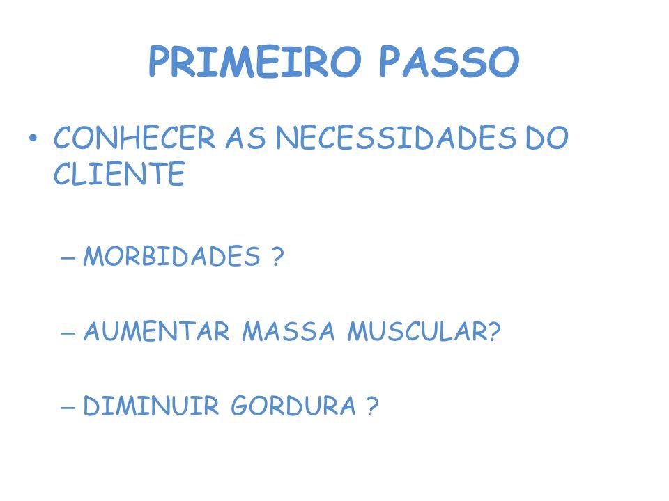 PRIMEIRO PASSO CONHECER AS NECESSIDADES DO CLIENTE – MORBIDADES ? – AUMENTAR MASSA MUSCULAR? – DIMINUIR GORDURA ?